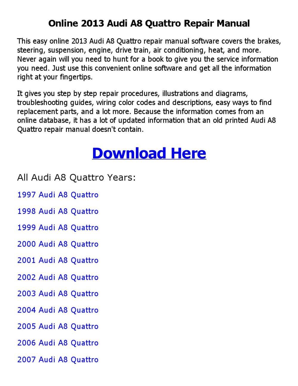 medium resolution of 2013 audi a8 quattro repair manual online