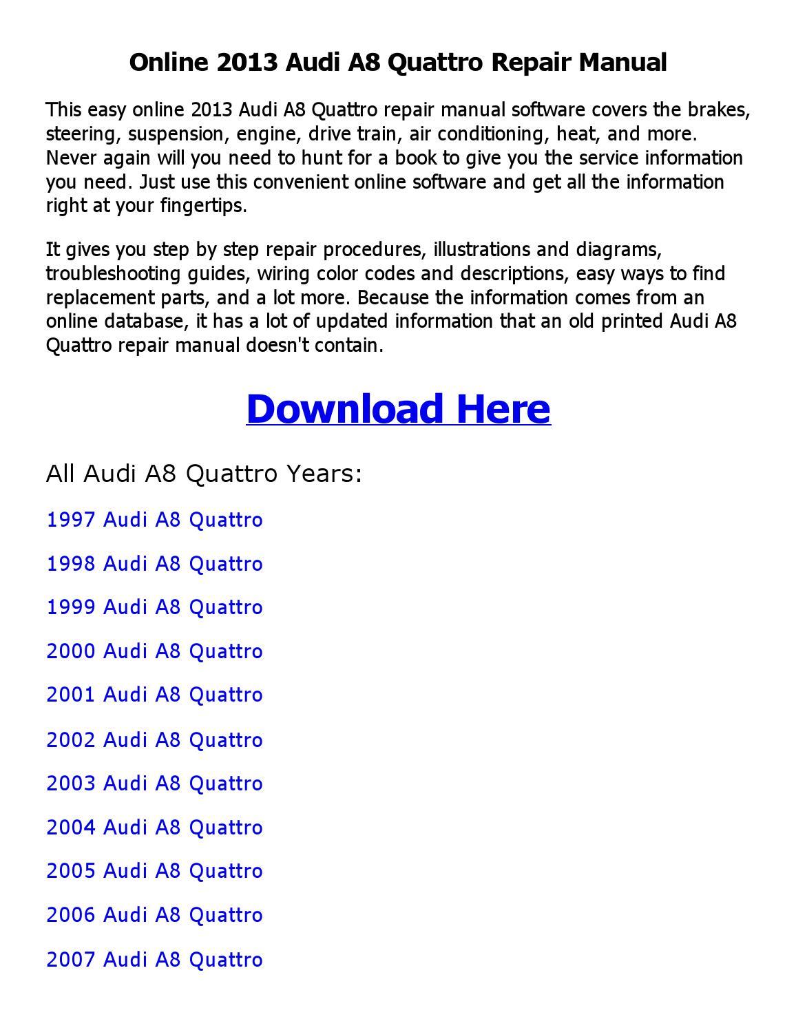 hight resolution of 2013 audi a8 quattro repair manual online
