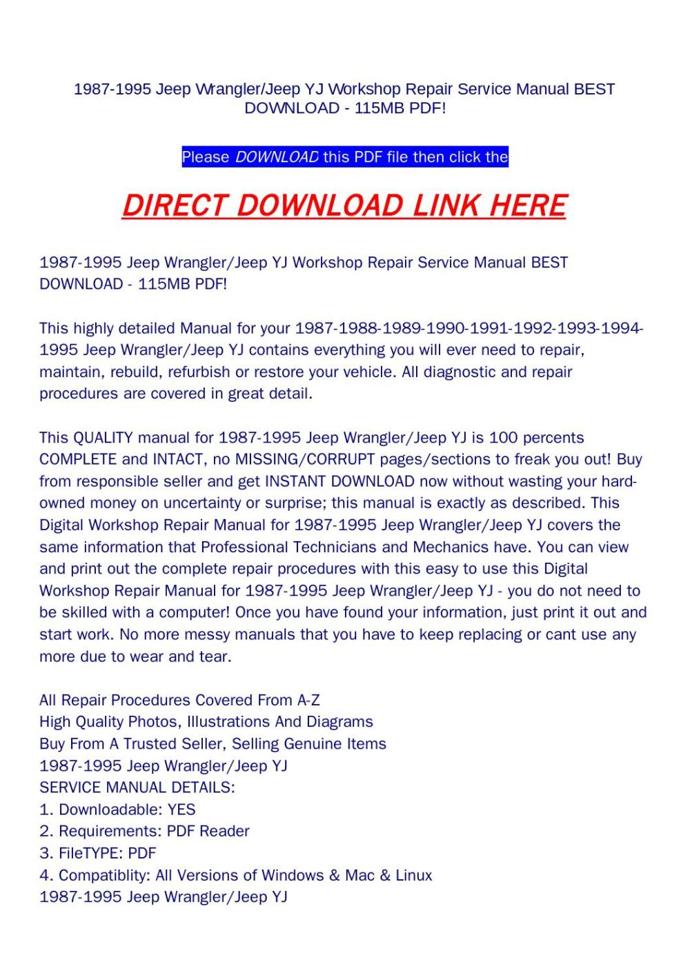 medium resolution of 1987 1995 jeep wrangler jeep yj workshop repair service manual best download 115mb pdf