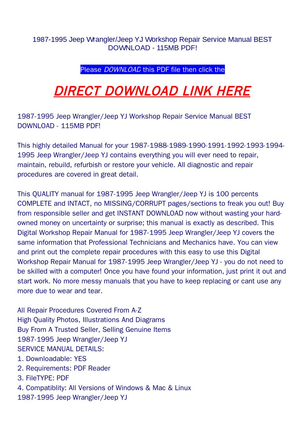 hight resolution of 1987 1995 jeep wrangler jeep yj workshop repair service manual best download 115mb pdf