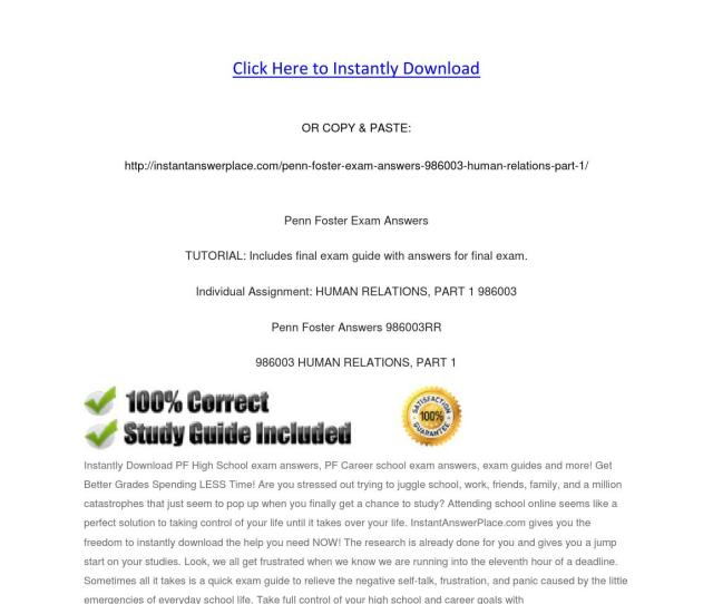 Penn Foster Exam Answers 986003 Human Relations Part 1 By Instantanswerplace Issuu