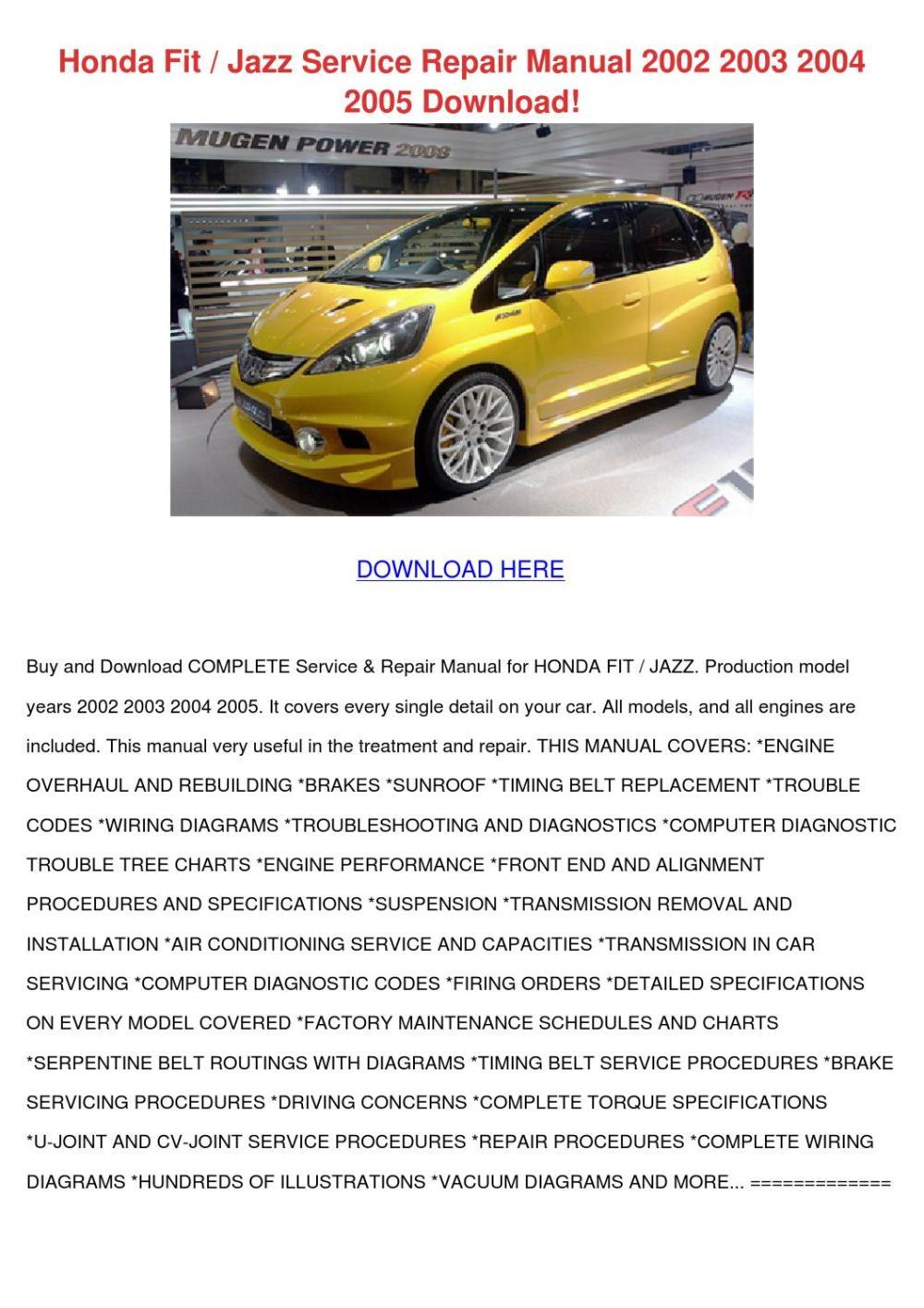 medium resolution of honda fit jazz service repair manual 2002 2003 2004 2005 download by daniel issuu