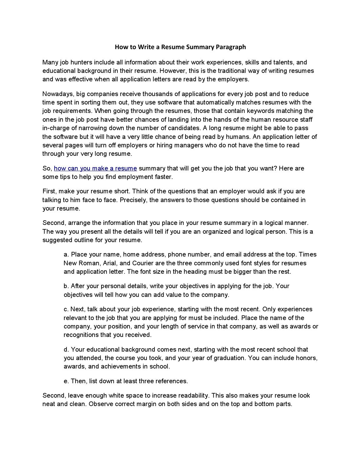 Summary Paragraph Resume How To Write A Resume Summary Paragraph By Acadsoc Issuu