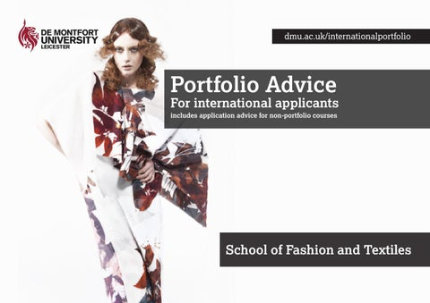 School Of Fashion And Textiles Portfolio Advice By De
