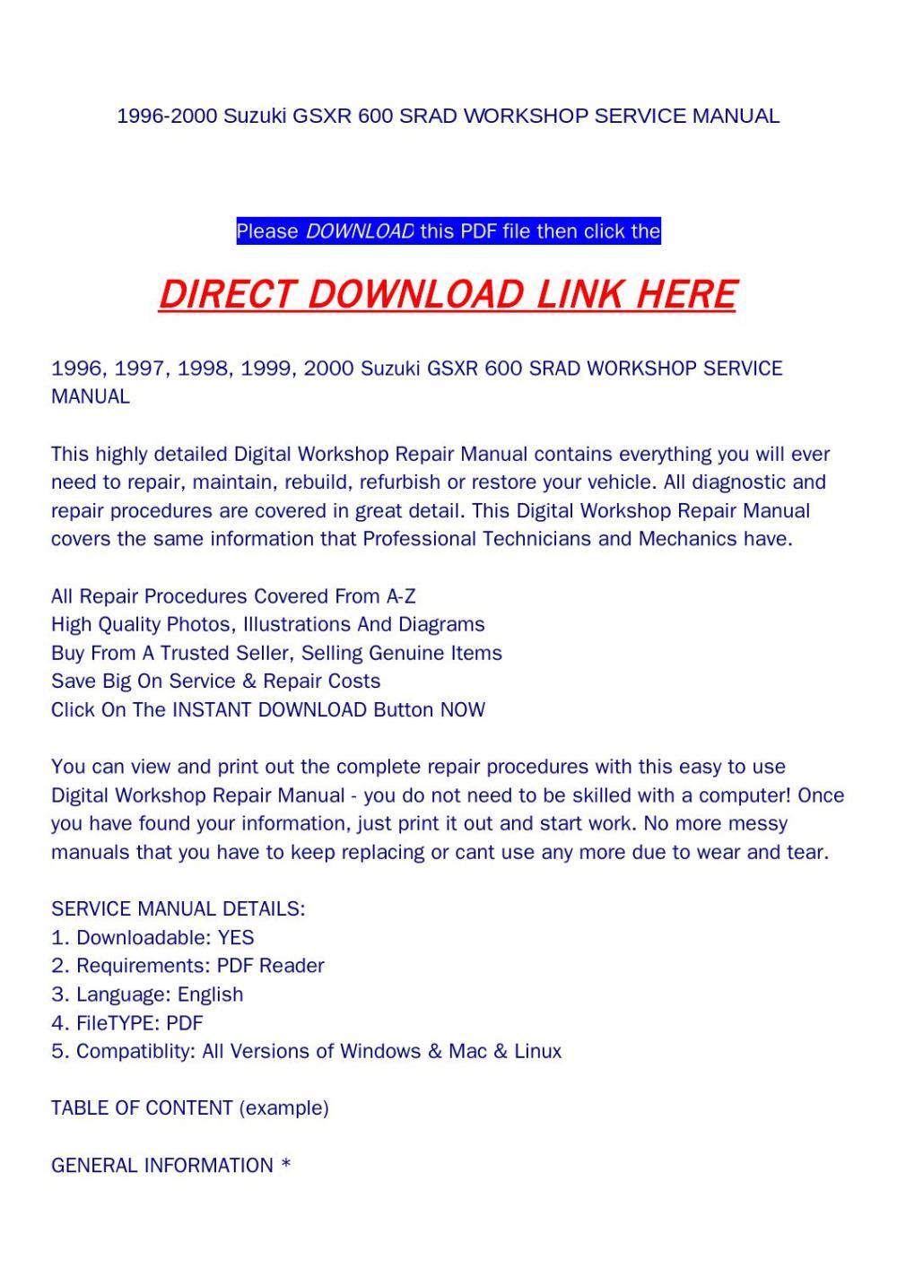 medium resolution of 1996 2000 suzuki gsxr 600 srad workshop service manual