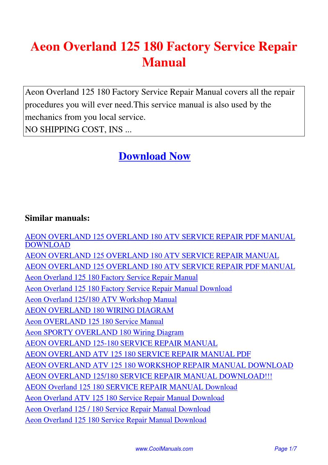 aeon quad wiring diagram auto transfer switch overland 125 180 factory service repair manual pdf by