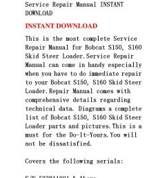 bobcat s150 s160 skid steer loader service repair manual instant download by fjhsegfnnse issuu [ 1058 x 1497 Pixel ]