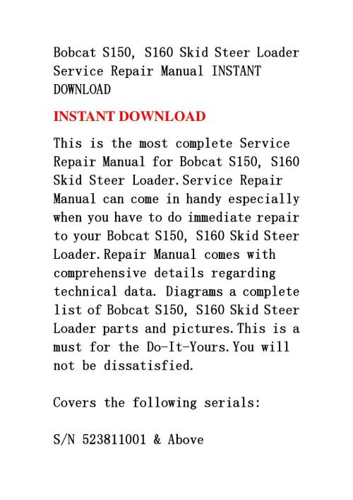 small resolution of bobcat s150 s160 skid steer loader service repair manual instant download by fjhsegfnnse issuu