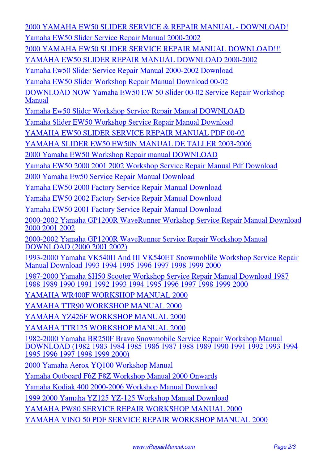hight resolution of yamaha ew50 slider service repair workshop manual 2000 pdf by david zhang issuu