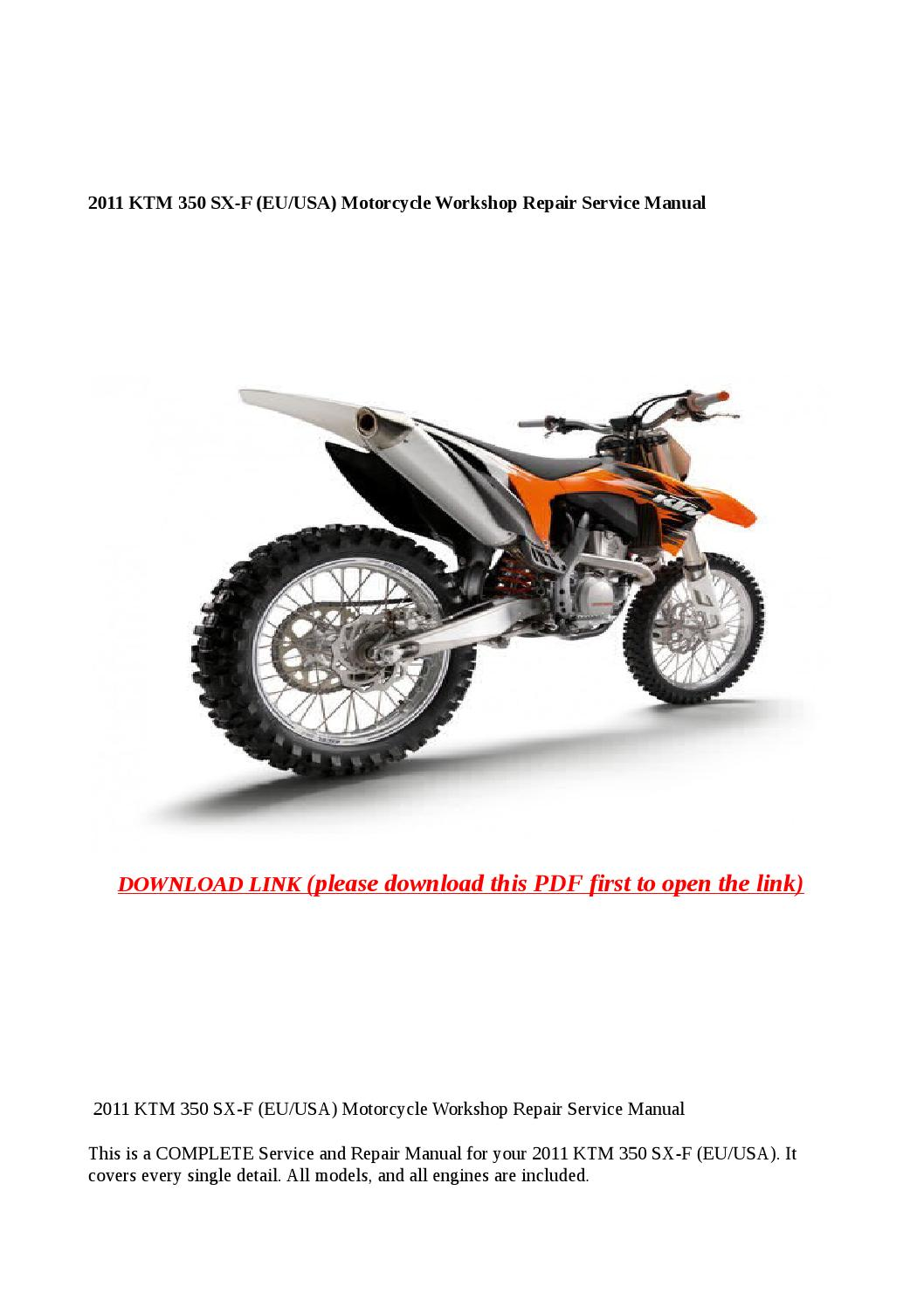 2011 ktm 350 sx f (eu usa) motorcycle workshop repair