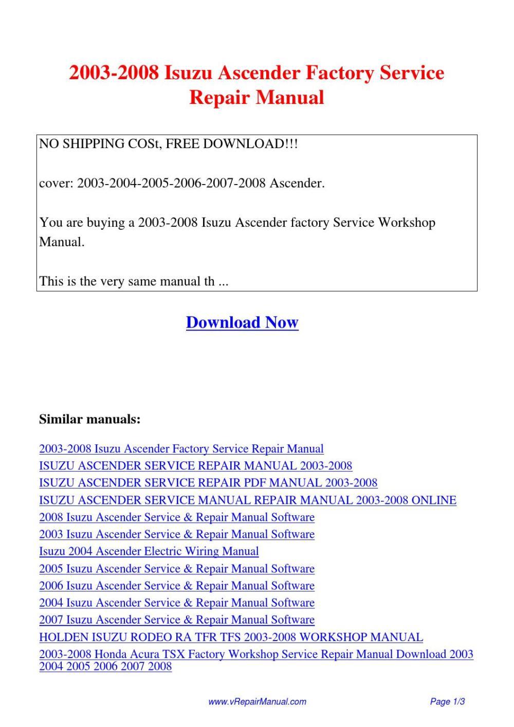 medium resolution of 2003 2008 isuzu ascender factory service repair manual pdf by david zhang issuu