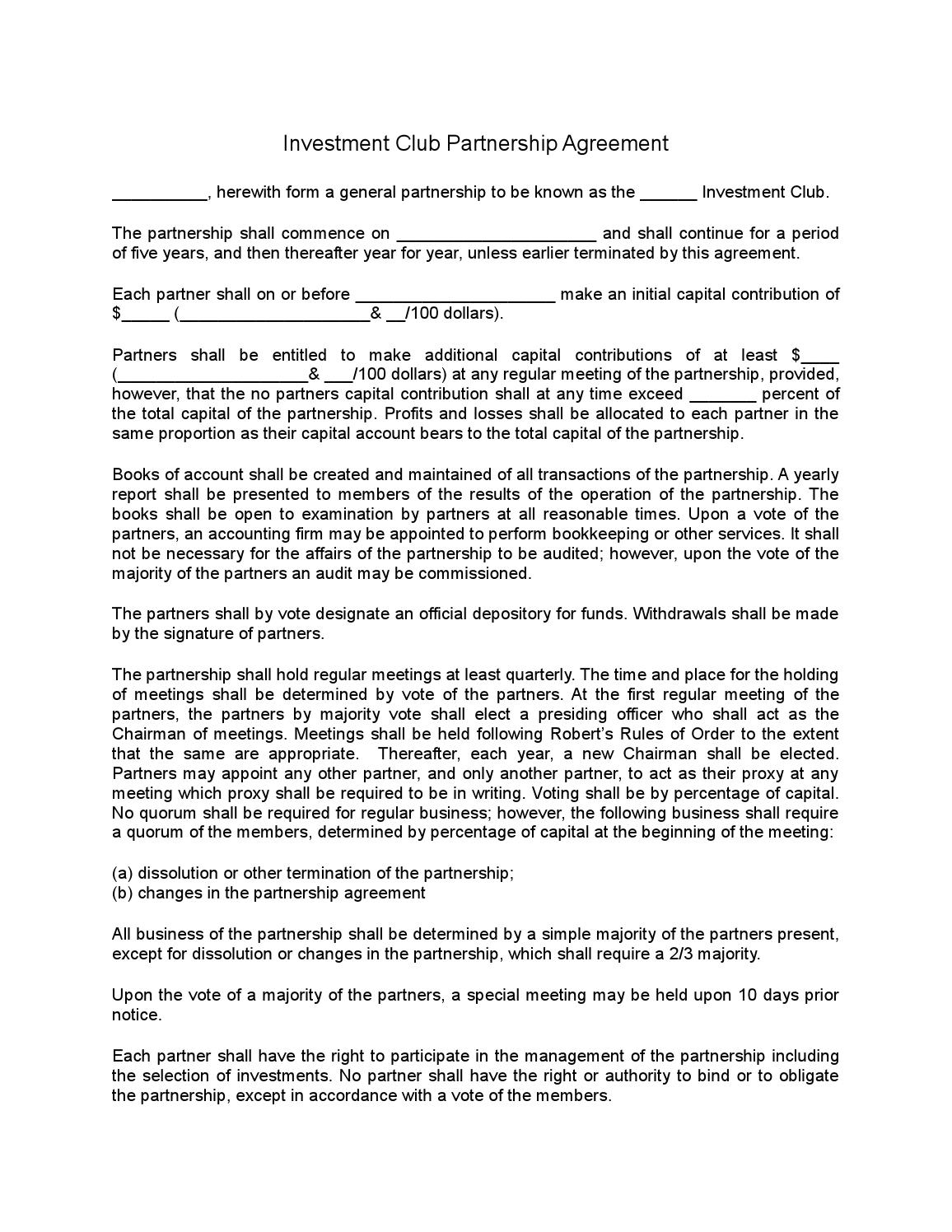 The contract also states that no member can sell. Investment Club Partnership Agreement By Sample Legal Forms Issuu