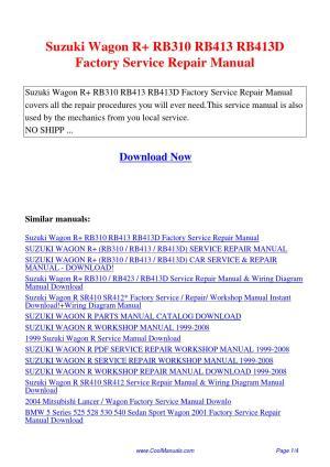 Suzuki Wagon R RB310 RB413 RB413D Factory Service Repair