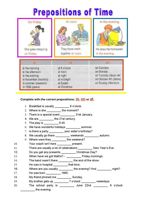 small resolution of Prepositions of time worksheet 7th grade by Maria Miguel - issuu