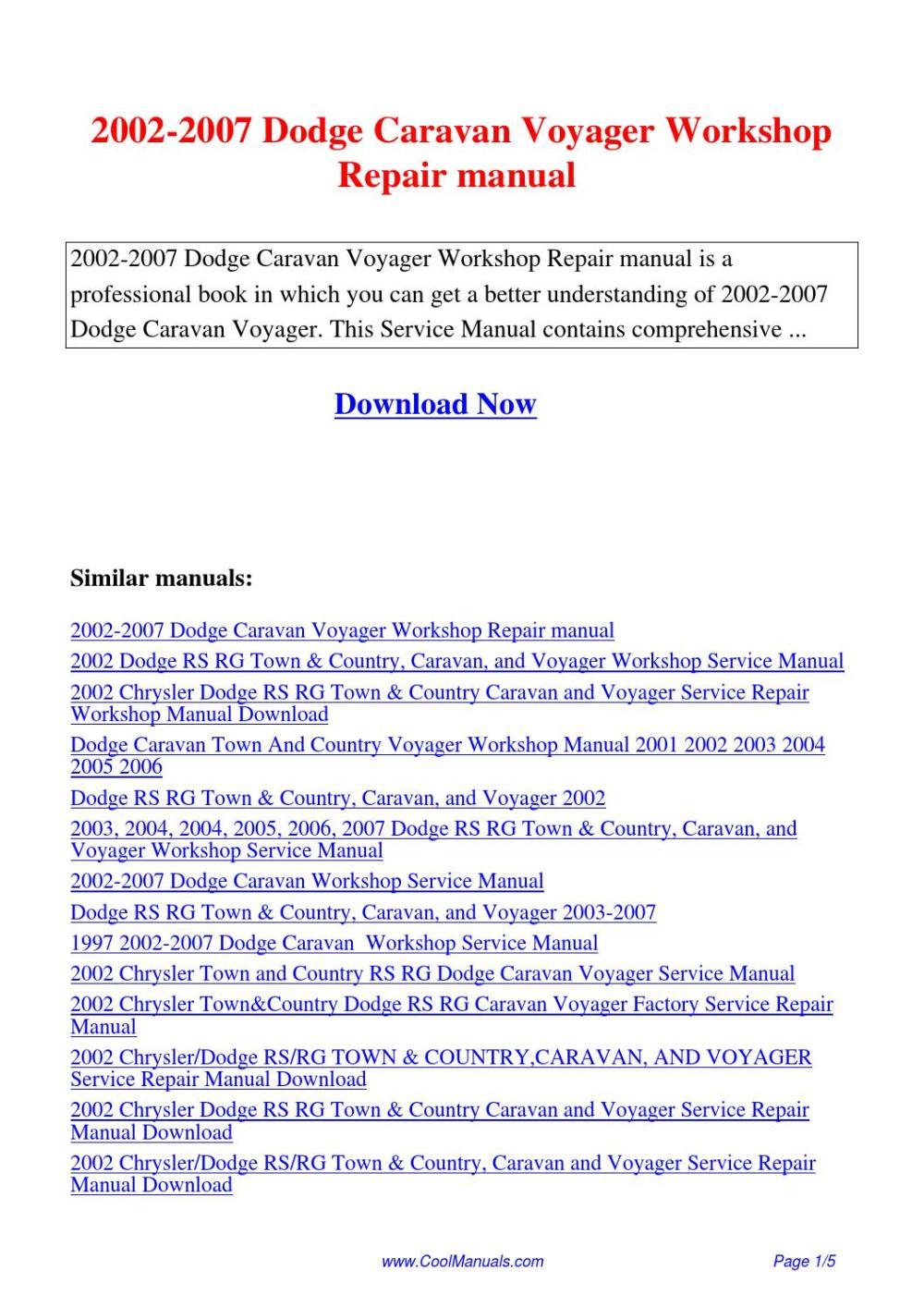medium resolution of 2002 2007 dodge caravan voyager workshop repair manual pdf