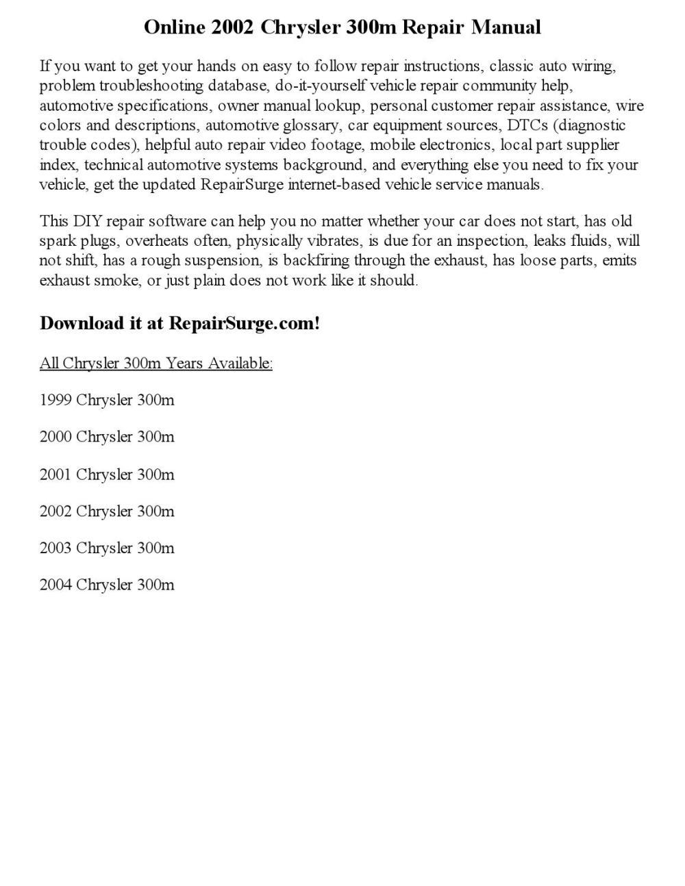 medium resolution of 2002 chrysler 300m repair manual online