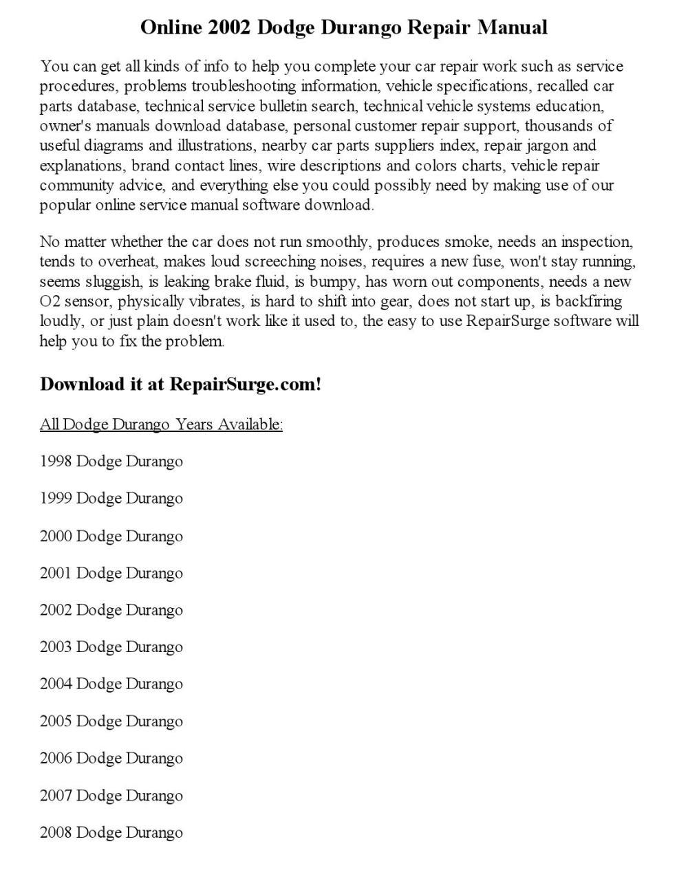 medium resolution of 05 dodge durango manual