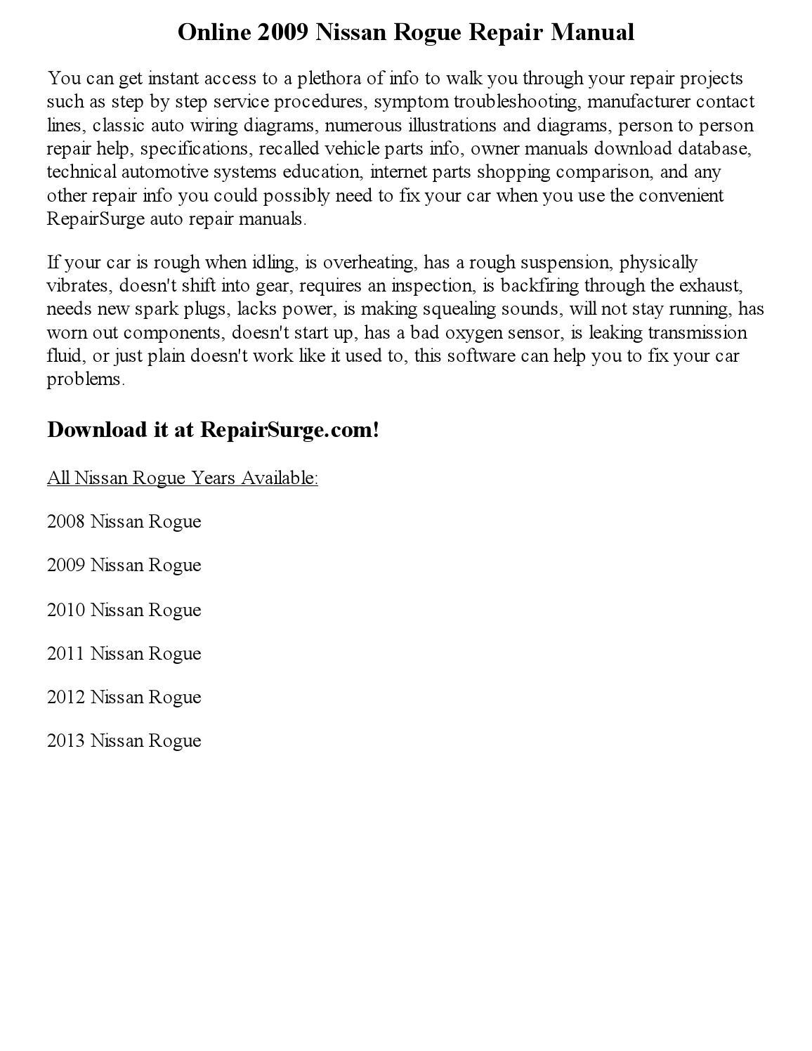 2009 Nissan Rogue Service Manual