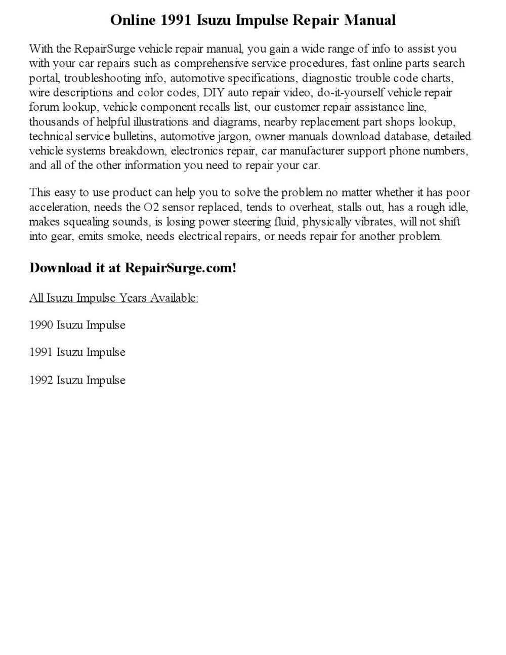 medium resolution of 1991 isuzu impulse repair manual online