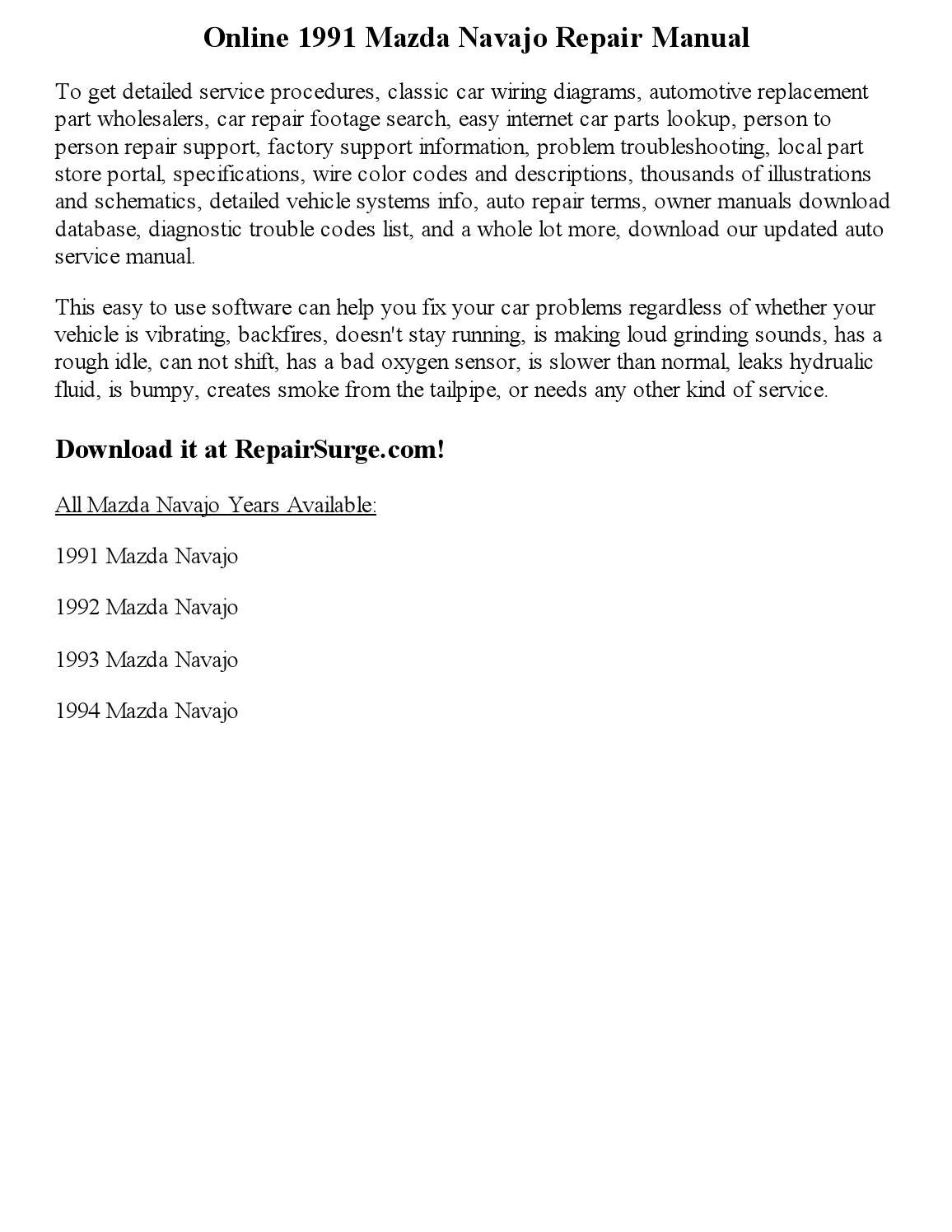 mazda wiring diagram color codes 2000 pontiac grand prix gtp radio 1991 navajo repair manual online by glen d charron
