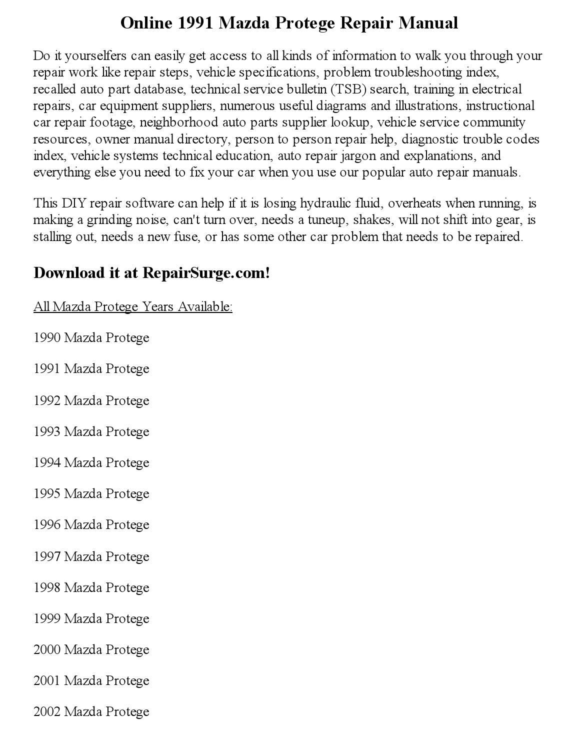 1994 Mazda Protege Workshop Manual