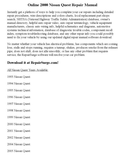 small resolution of 2000 nissan quest repair manual online
