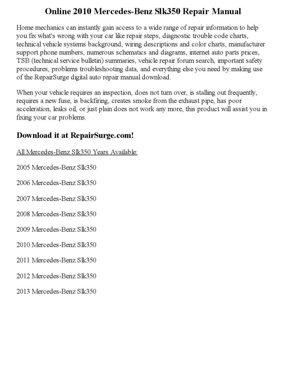medium resolution of 2010 mercedes benz slk350 repair manual online
