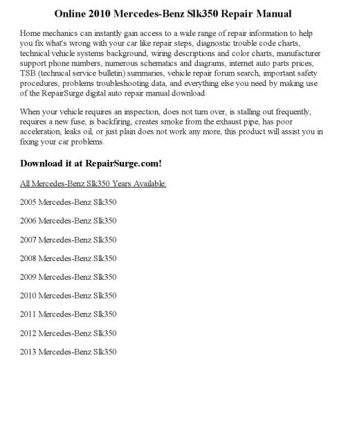 small resolution of 2010 mercedes benz slk350 repair manual online