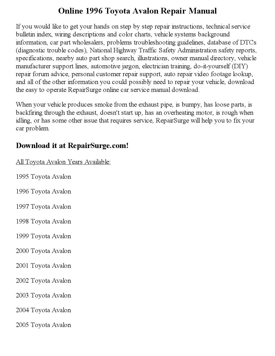 2002 Toyota Avalon Owners Manual