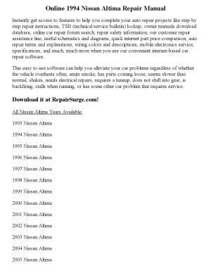 1994 nissan altima repair manual online by Clark Andrew