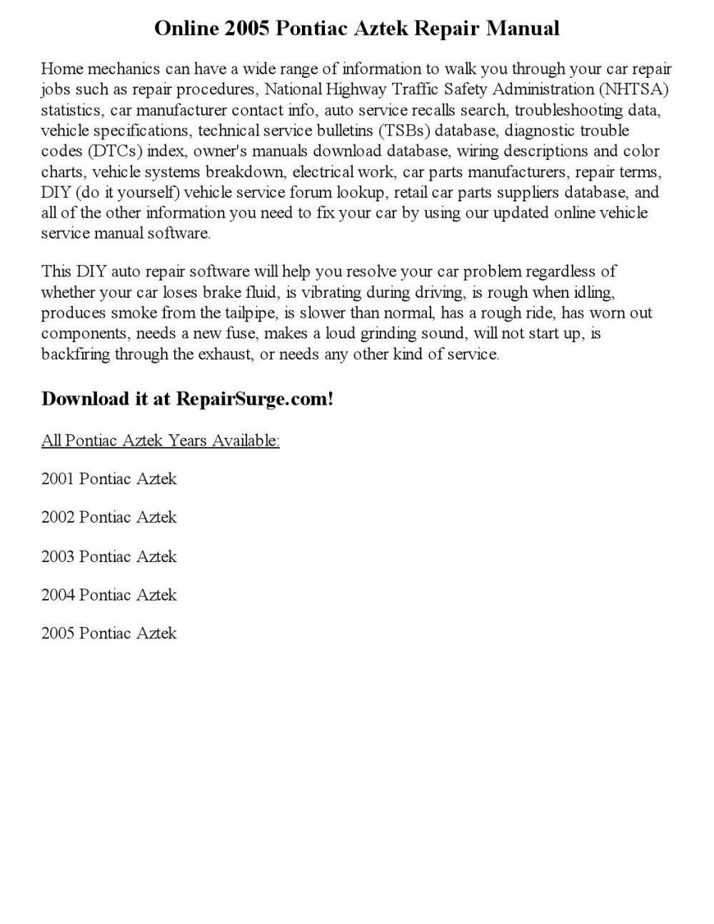 medium resolution of 2005 pontiac aztek repair manual online
