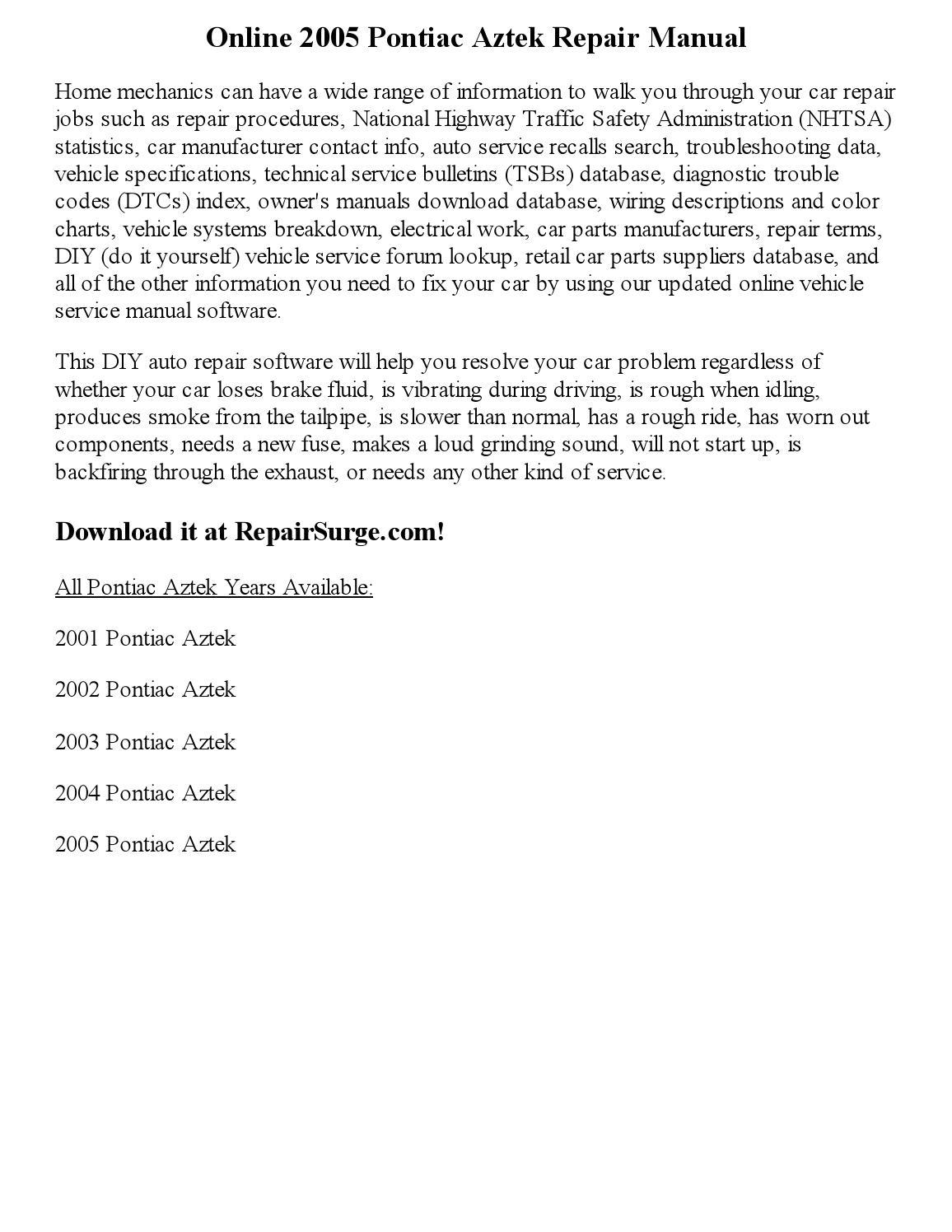 hight resolution of 2005 pontiac aztek repair manual online