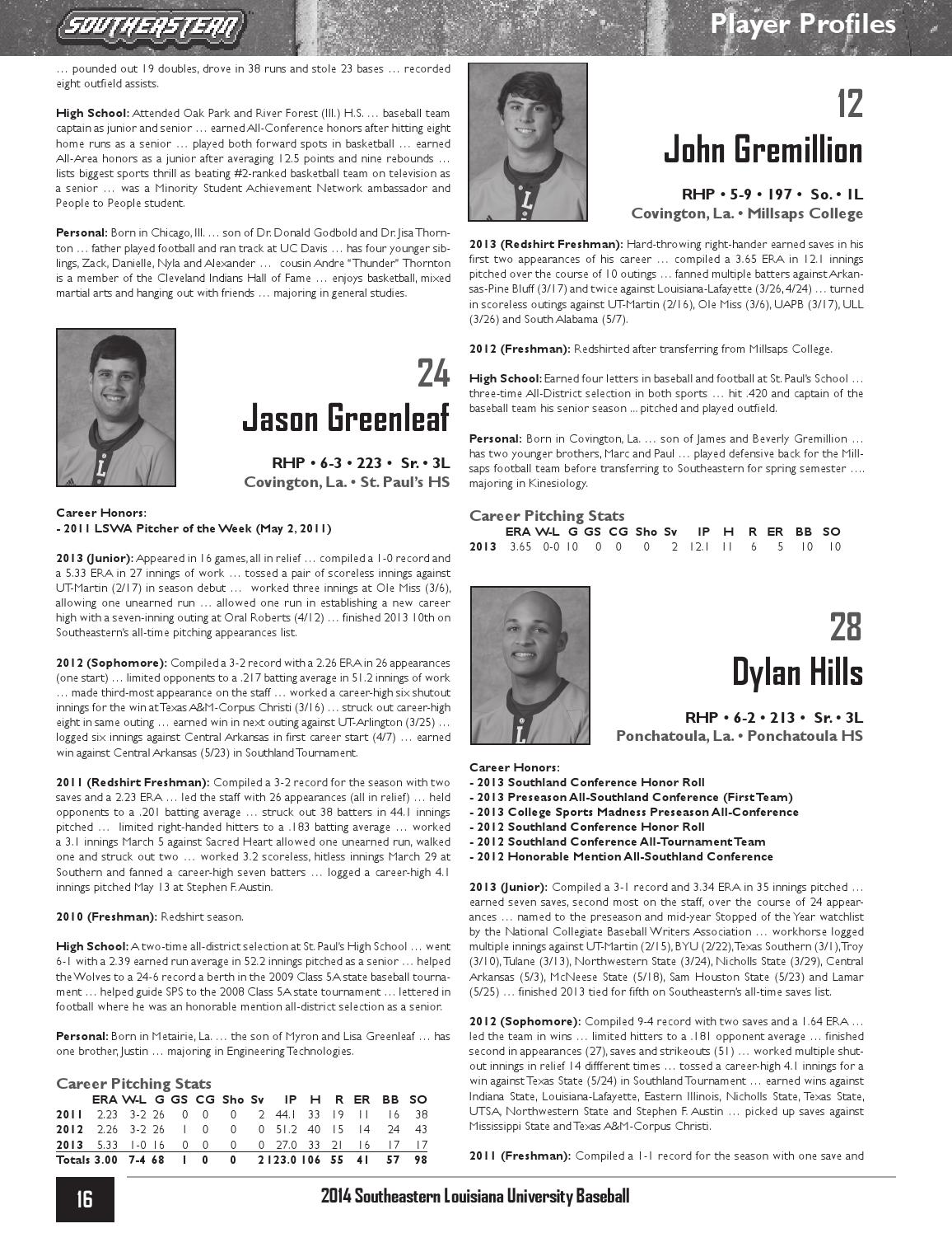 2014 Southeastern Louisiana Baseball Media Guide by