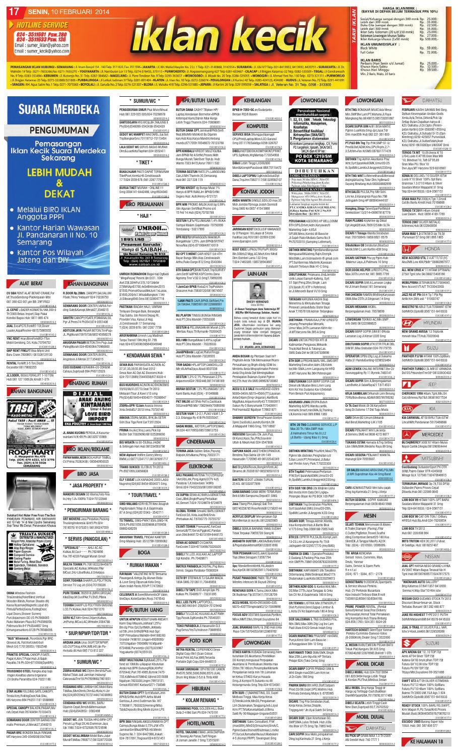 Iklan Kecik Suara Merdeka : iklan, kecik, suara, merdeka, Suara, Merdeka, 10-02-14, Adilia, Fibrianti, Issuu