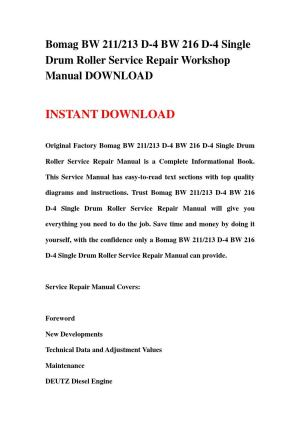 Bomag bw 211213 d 4 bw 216 d 4 single drum roller service repair workshop manual download by