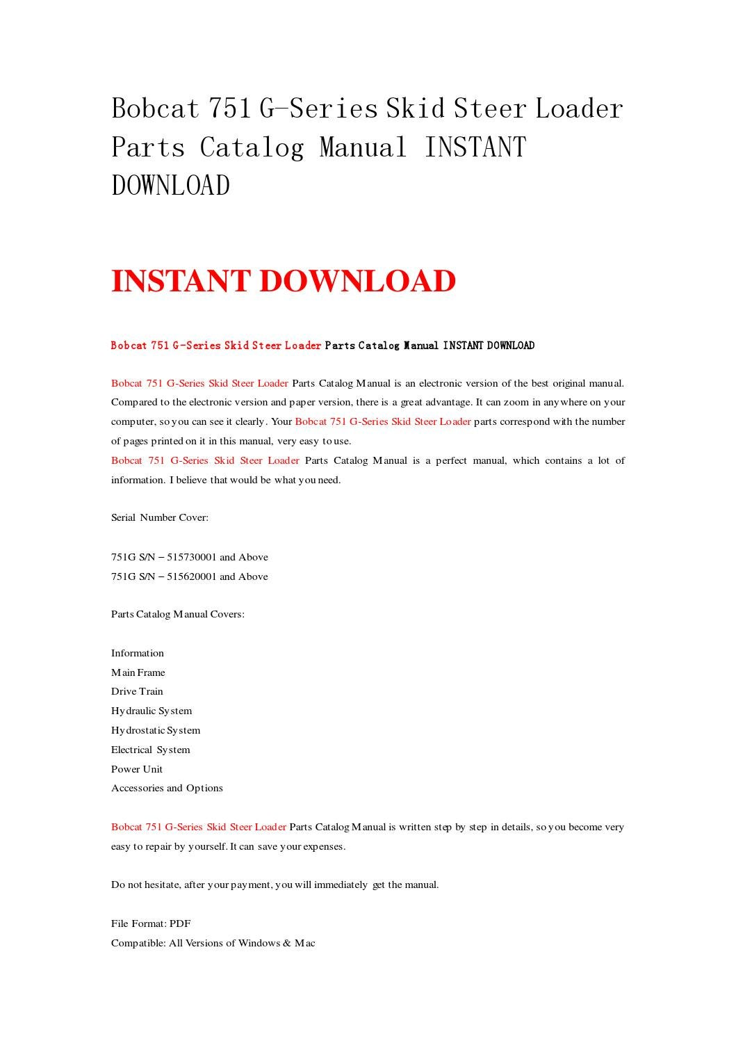hight resolution of bobcat 751 g series skid steer loader parts catalog manual instant download by nwqrez issuu