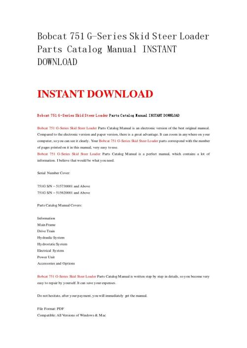 small resolution of bobcat 751 g series skid steer loader parts catalog manual instant download by nwqrez issuu