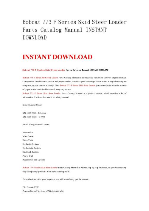 small resolution of bobcat 773 f series skid steer loader parts catalog manual instant download by nwqrez issuu