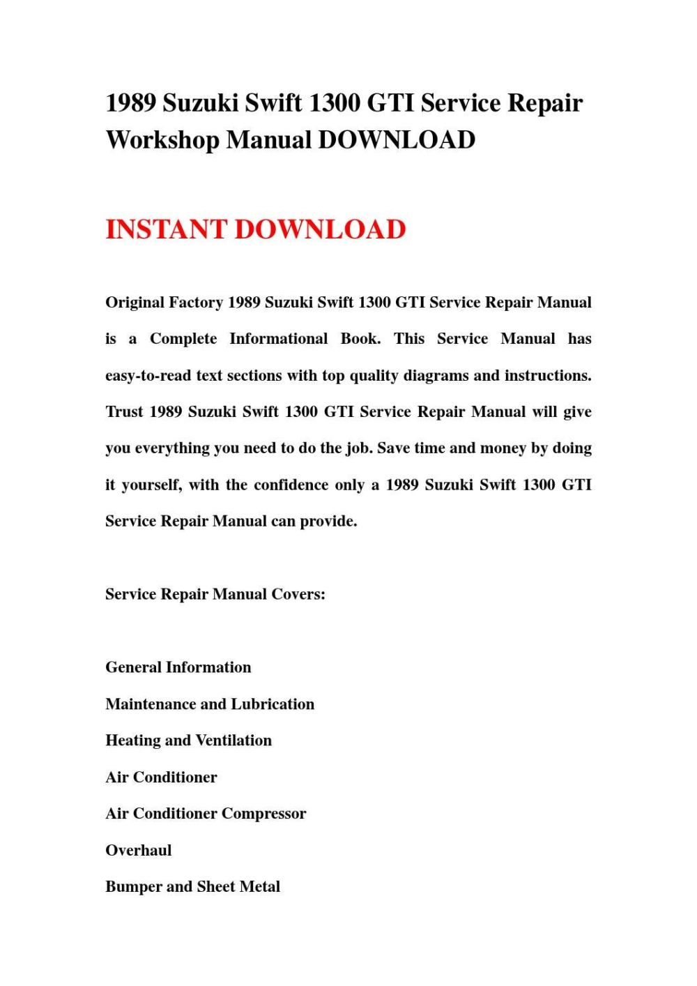 medium resolution of 1989 suzuki swift 1300 gti service repair workshop manual download by hews issuu