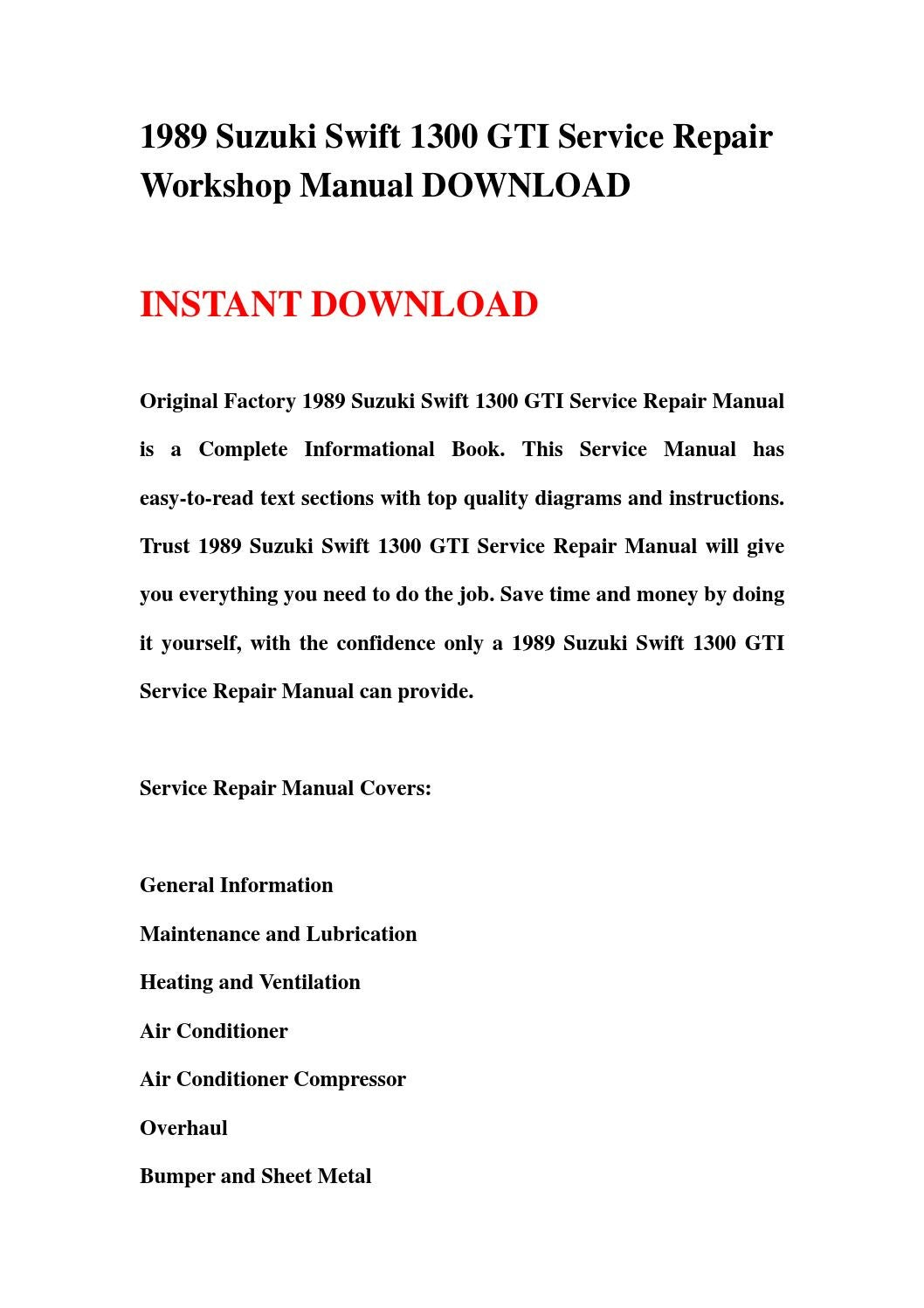 hight resolution of 1989 suzuki swift 1300 gti service repair workshop manual download by hews issuu