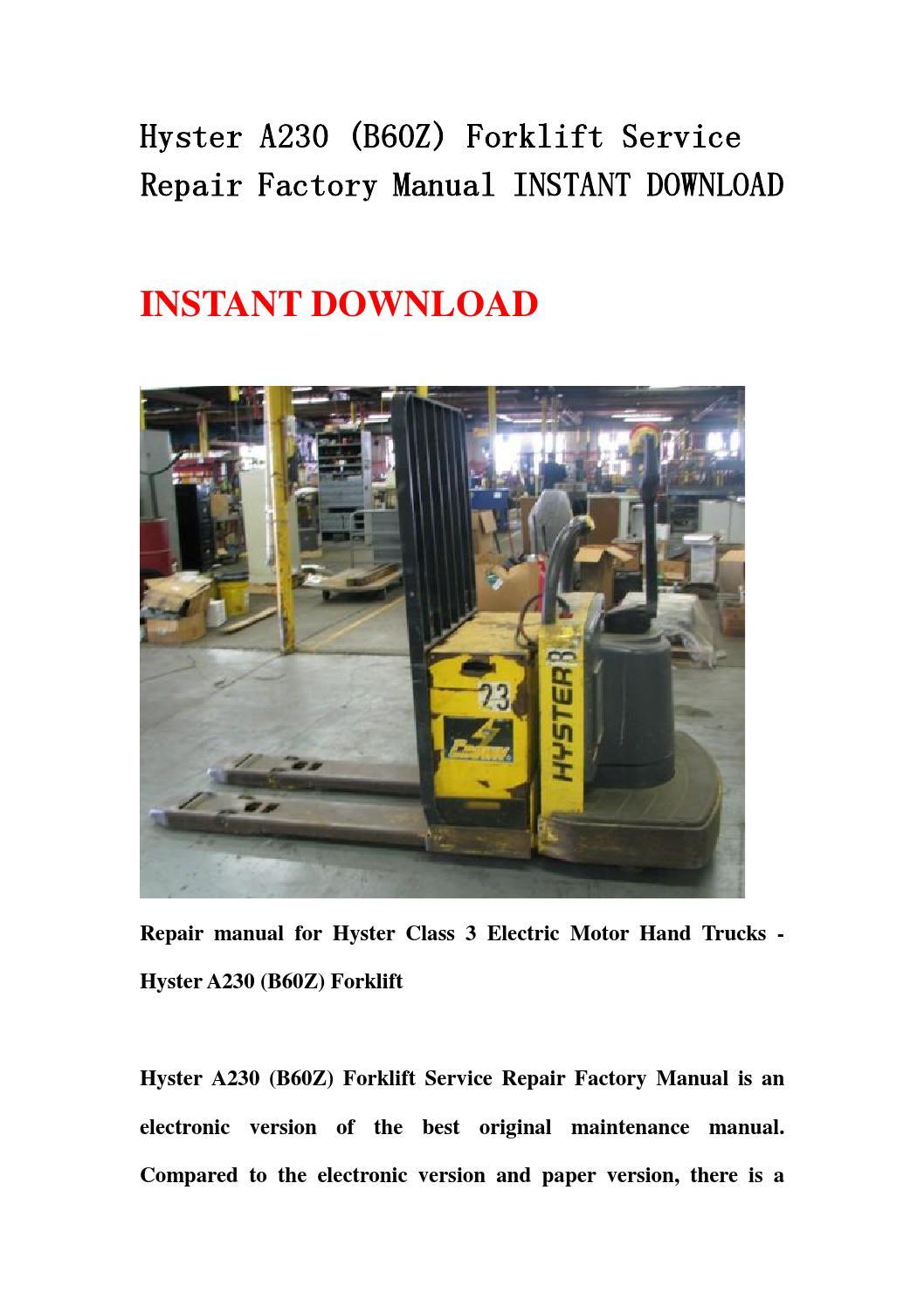 hyster 60 forklift wiring diagram vlan design a230 b60z service repair factory manual