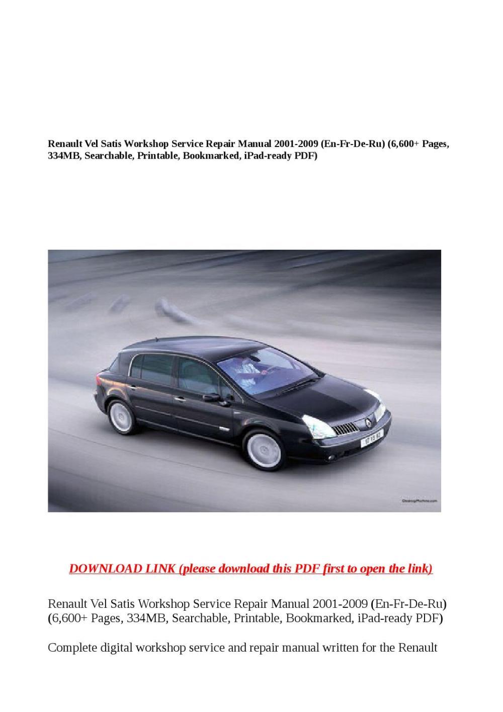 medium resolution of renault vel satis workshop service repair manual 2001 2009 en fr de ru 6 600 pages 334mb search by buhbu issuu