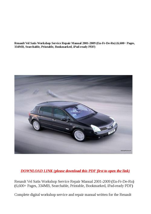 small resolution of renault vel satis workshop service repair manual 2001 2009 en fr de ru 6 600 pages 334mb search by buhbu issuu