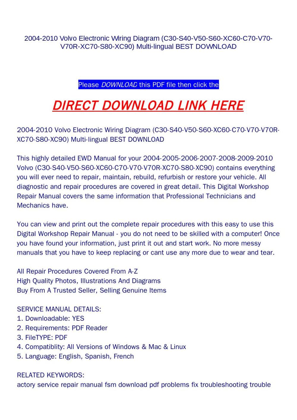 medium resolution of 2004 2010 volvo electronic wiring diagram c30 s40 v50 s60 xc60 c70 v70 v70r xc70 s80 xc90 multi li by yfg qualityservicemanual com issuu