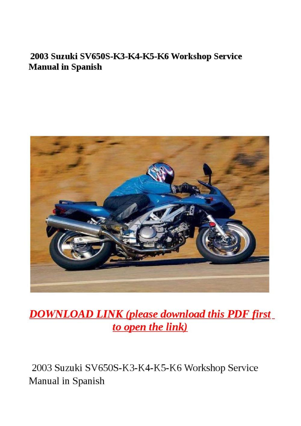 medium resolution of 2003 suzuki sv650s k3 k4 k5 k6 workshop service manual in spanish