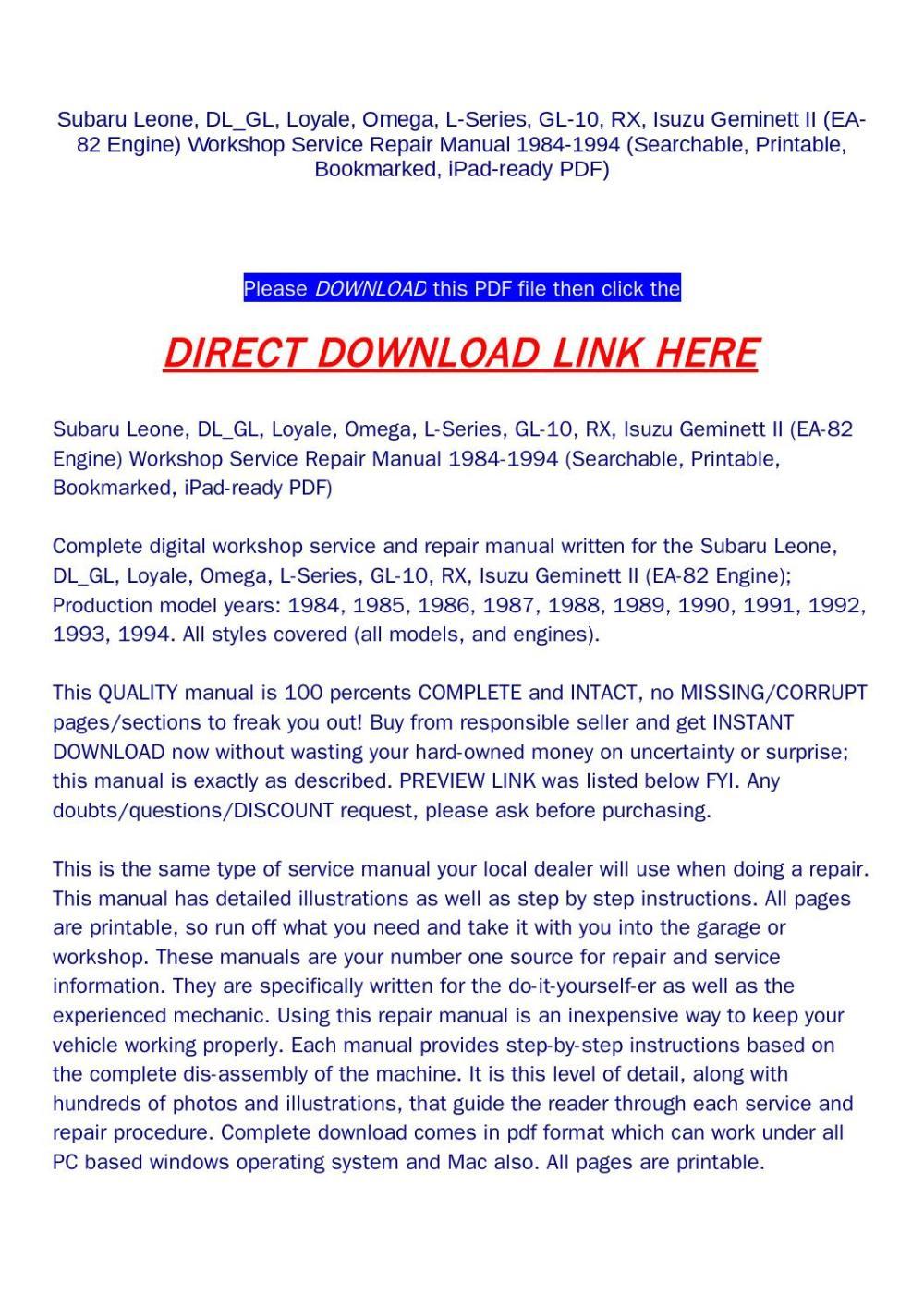 medium resolution of subaru leone dl gl loyale omega l series gl 10