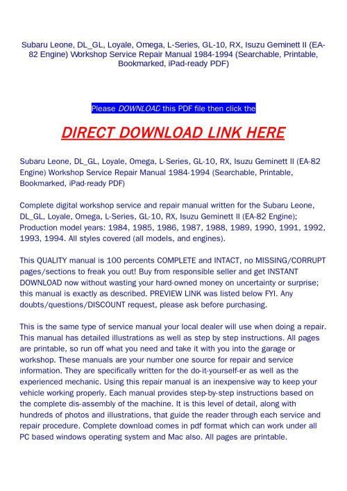 small resolution of subaru leone dl gl loyale omega l series gl 10