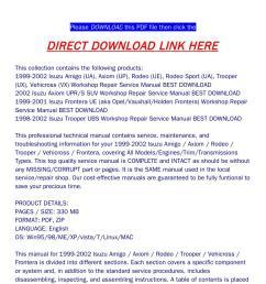 1999 2002 isuzu amigo axiom rodeo trooper vehicross frontera workshop repair service manual best dow [ 1058 x 1497 Pixel ]