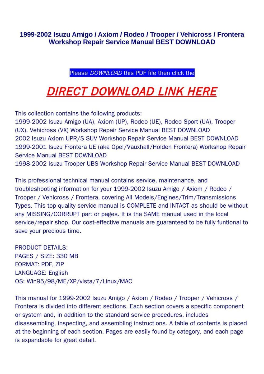 medium resolution of 1999 2002 isuzu amigo axiom rodeo trooper vehicross frontera workshop repair service manual best dow