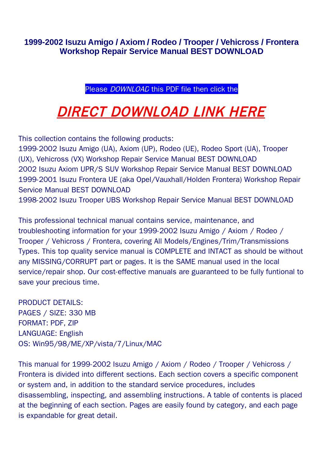 hight resolution of 1999 2002 isuzu amigo axiom rodeo trooper vehicross frontera workshop repair service manual best dow